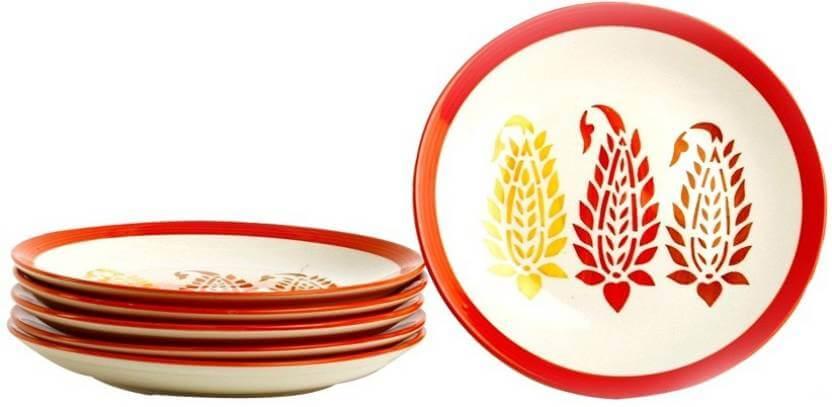 Red leaf designed dinner plates Plate Set ...  sc 1 st  Dash India & Red leaf designed dinner plates Plate Set (Pack of 6) \u2013 Dash India